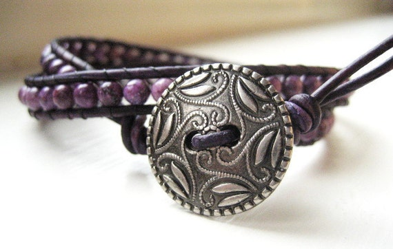 Charoite Leather Wrap Bracelet - Double