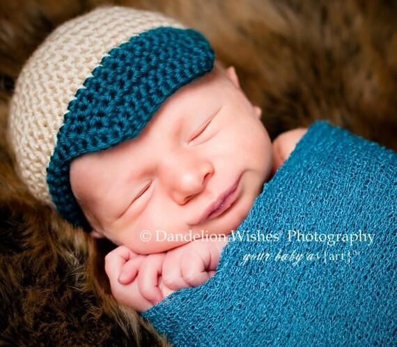 Newborn Cap with Beak - Newborn Baseball Style Cap - Baby Boy Cap with Beaked Brim - Photog Prop Cap - Ready To Ship