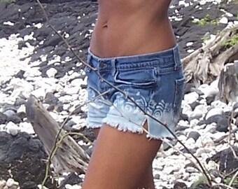 Bleach dipped with Hibiscus Lei denim shorts