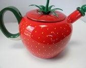 Vintage Strawberry Enamel Teapot / Tea Kettle