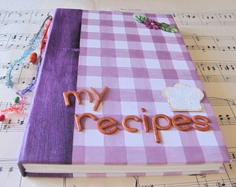 Handbound, decorated personalized hardcover recipe notebook, journal with stamped pages,  in many colors and designs