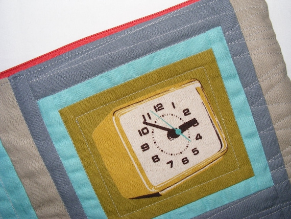 Quilted diaper pouch VINTAGE CLOCK