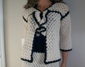 Designer Inspired navy and white suite crochet