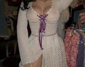 white crochet lace up sweater dress  BLOWOUT SALE