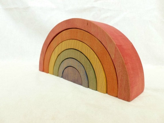 Large Wooden Rainbow Toy  - Waldorf Toy - Rainbow Stacker