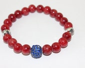 Honesty bracelet - Red jade with blue gunmetal pave bead