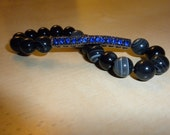 Natural Striped Black Agate with  Blue Pave Bar