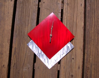 Candy red and silver ground metal abstract modern wall art metal steel clock