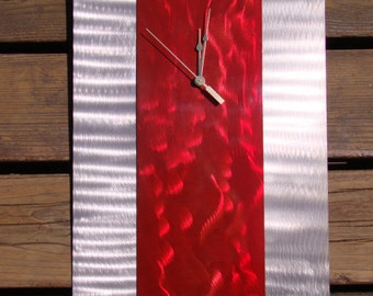 Candy red and silver abstract modern wall art metal ground metal steel clock allen head stainless steel head nuts