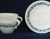 Corelle Old Town Blue Onion Cup and saucers, set of 4.