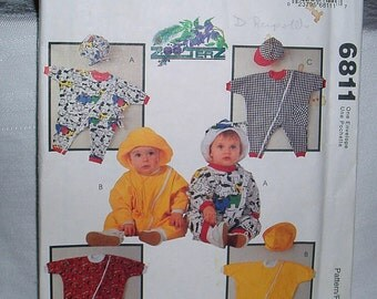 Infants Rompers and Hats Sewing Pattern Sizes Small to XLarge 6811