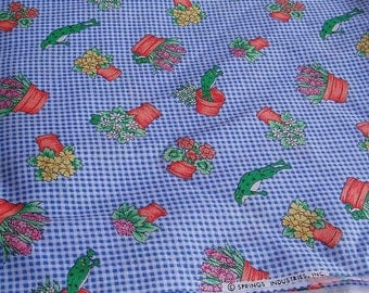 1 Yard Cotton Gingham Fabric w/ Flower Pots, Frogs, Hyacinth, and Flowers