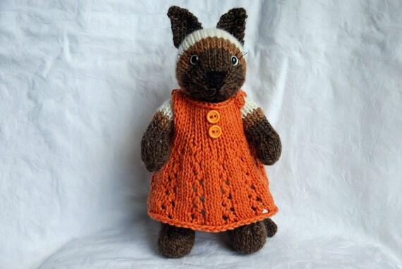 Knitted Siamese Cat  toy in pumpkin orange summer cotton dress