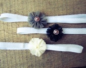 Shabby chic headbands set of 3 girls photography prop