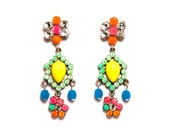 Earrings rhinestone, neon multicolor orange pink turquoise green blue, hand-colored, pierced