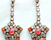 VINTAGE Neon fashion pierced earrings, mutlicolor  orange pink with hand-colored rhinestons