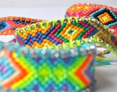 Friendship bracelet, Bohemian Hippie Gypsy style, chrystel rhinestone, neon multicolor orange green yellow pink blue, cotton thread work