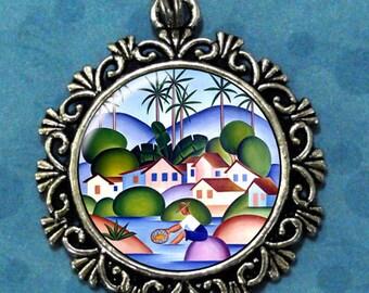 An Angler Art Pendant, Fisherman Resin Pendant, Tarsila do Amaral Art, Photo Pendant Charm