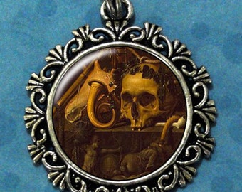 Still Life with a Skull Art Pendant, Day of the Dead Resin Pendant, Sebastiaen Bonnecroy Art, Photo Pendant Charm