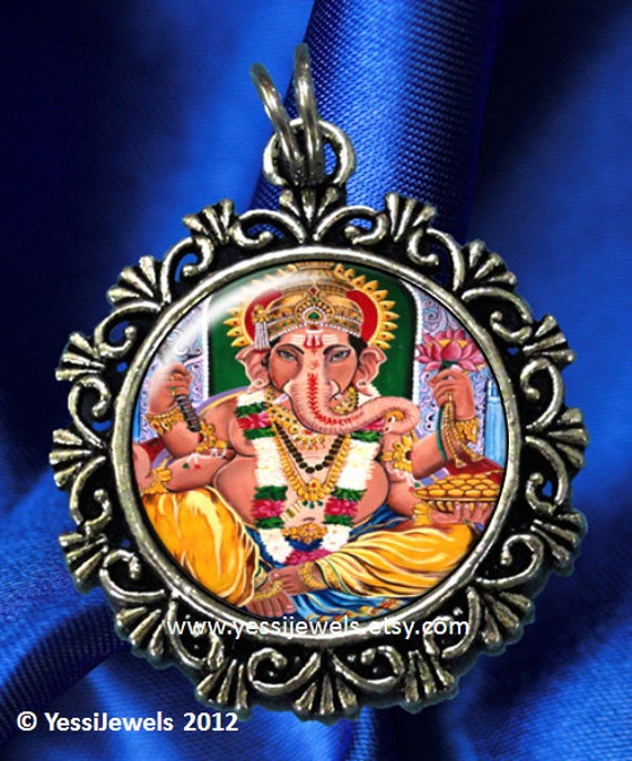Ganesha Hindu Goddess Art Pendant, Lord of Success and Destroyer of Evils and Obstacles, Photo Resin Pendant Charm