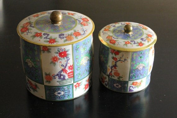 Pair of Vintage Canisters Asian Birds Floral Containers Made in England 1940s 1950s 1960s Storage Cottage Chic