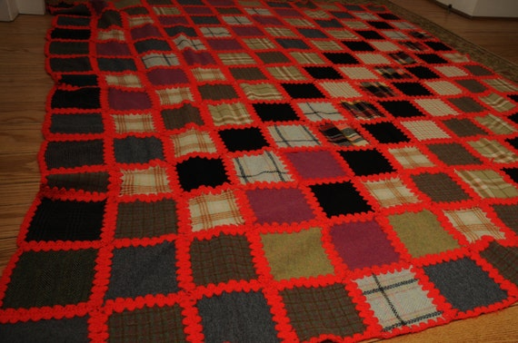 Vintage Handmade Wool and Crochet Blanket Unique Rustic Cottage Chic Gray and Red Patchwork