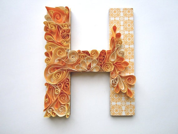 Items Similar To Monogram Quilled Letter On Etsy