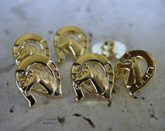 """EQUESTRIAN Horse Head in Horseshoe Gold Buttons set of 6 Pieces Rare Custom Made 1/2"""""""