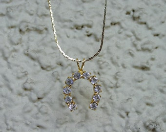 """Horse Shoe CZ Equestrian Jewelry Pendant & 18"""" Chain Necklace 14K Gold Plated Great Detail"""