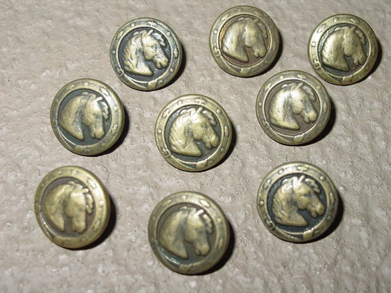 Vintage Equestrian Antique Brass Look Horse Head Buttons set of 6 Pieces Rare  Custom Made 1/2""