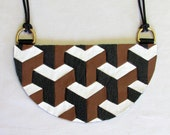 The Nested Cubes Bib - Brown Back and White Leather - Geometric Design - 3D Illusion - Statement Necklace