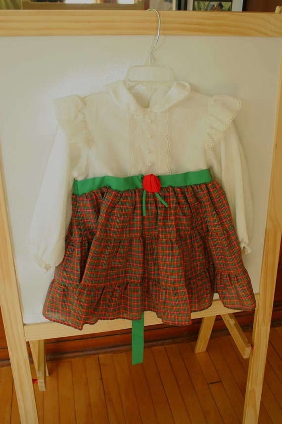 Vintage Girl's Plaid and Pearls Dress 3T