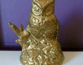 Cute Vintage Decorative Brass Owl Statue Ornament Paper Weight