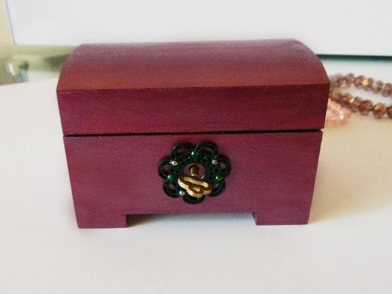 Stunning Hand Painted Maroon Purple Metallic Jewelry Jewellery Treasure Chest Box