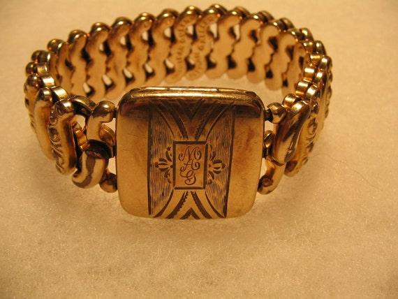 Gold Filled Bracelet Locket 1940's Vintage jewelry Engraved RESERVED for SARAH