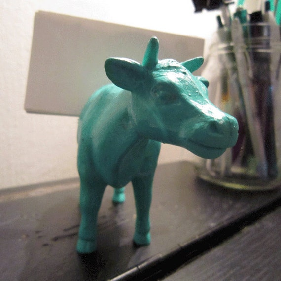 Teal Cow Business Card Holder