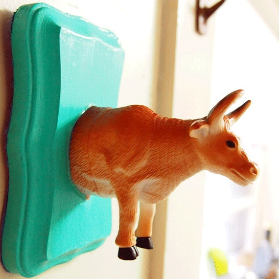 SALE: Mint Green Cow Toyidermy Wall Plaque