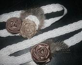 Bronze Flower Feather Garter Set