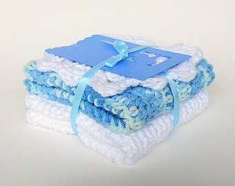 White And Blue Cotton Baby Washcloths With Gift Tag Infant Boy Wash Cloths Face Scrubbie Newborn Girl Bath Set  Eco Friendly Dishcloth