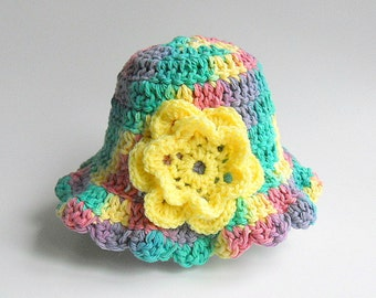 2 To 5 Years Old Toddler  Girl  Rainbow  Hat  Infant Pink Green Yellow Purple Summer Cotton  Cap With Yellow Flower