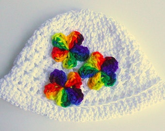 2 To 5 Years Old Girl White Cotton Hat  Summer Beanie Toddler Rainbow Flowers  Spring Cap
