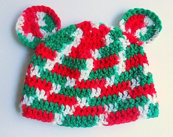 Baby Boy Christmas Hat With Ears 3 To 9  Month Old  Infant Girl Holiday Cap 6 Months Crochet Red Green White Children Winter Beanie