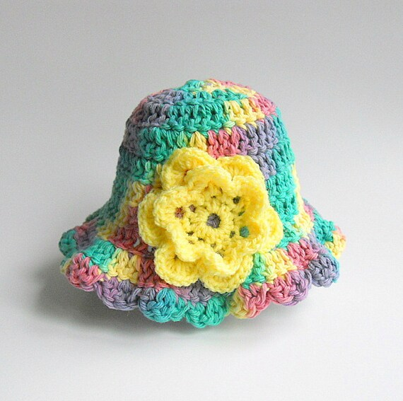 18 Months Baby Girl Cotton Summer Rainbow  Hat Toddler 1 To 2 Years Old Infant Pink Green Yellow Purple Summer Cap With Yellow Flower