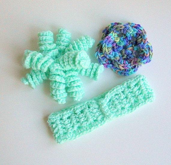 Baby Girl  Headband Mint Green Korker Spiral CorkScrew Bow Woman Hair Clip Crochet  Light Pale Flower Pin  Brooch