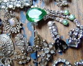 Sparkle, Shine, Bling, Huge Lot 32 Pieces of Vintage Crystal Rhinestone Destash, ,Brooches, Shoe Buckles, Earrings, Ring