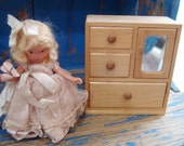 Vintage Chifforobe, Dresser, Chest, Doll House Furniture 1950's for Your Story Book Doll Display