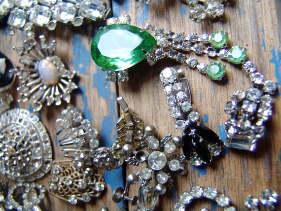 Sparkle, Shine, Bling, Huge Lot 32 Pieces of Vintage Crystal Rhinestone Destash, ,Brooches, Shoe Buckles, Earrings, Ring