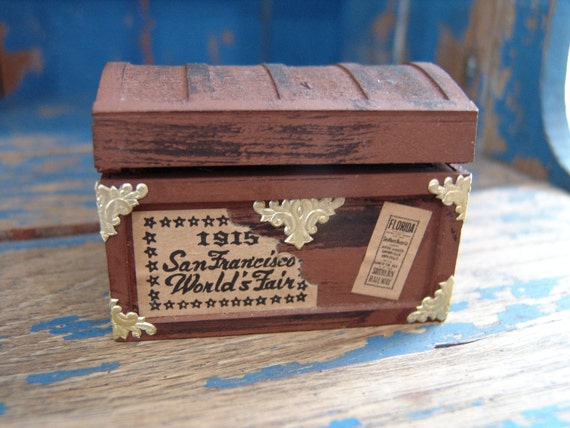 1950 Shackman Attic Trunk, Miniature Doll House Furniture, Handcrafted Hardwood. Made in Japan: