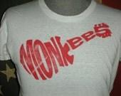 Vintage 70s the Monkees concert tour band t shirt pop bubblegum psychedelic pop rock music