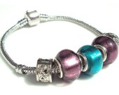 Silver European Style Bracelet - Trio Set - 2 Purple and 1 Teal Beads with 2 Locks